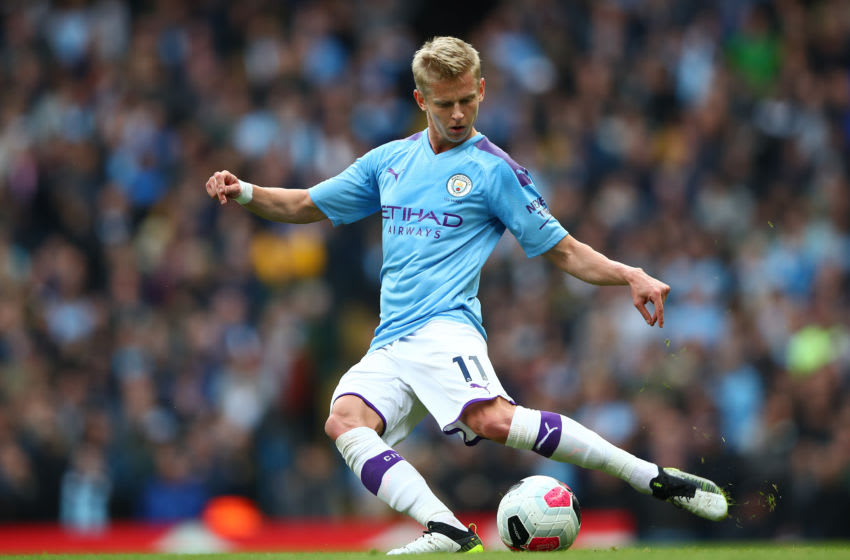 MANCHESTER, ENGLAND - OCTOBER 06: Oleksandr Zinchenko of Manchester City in action during the Premier League match between Manchester City and Wolverhampton Wanderers at Etihad Stadium on October 06, 2019 in Manchester, United Kingdom. (Photo by Clive Brunskill/Getty Images)