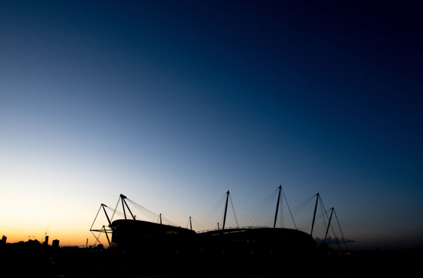 MANCHESTER, ENGLAND - OCTOBER 16: A general view of the Etihad Stadium prior to the UEFA Women's Champions League Round of 16 First Leg match between Manchester City Women and Atletico Madrid Femenino at The Academy Stadium on October 16, 2019 in Manchester, England. (Photo by George Wood/Getty Images)