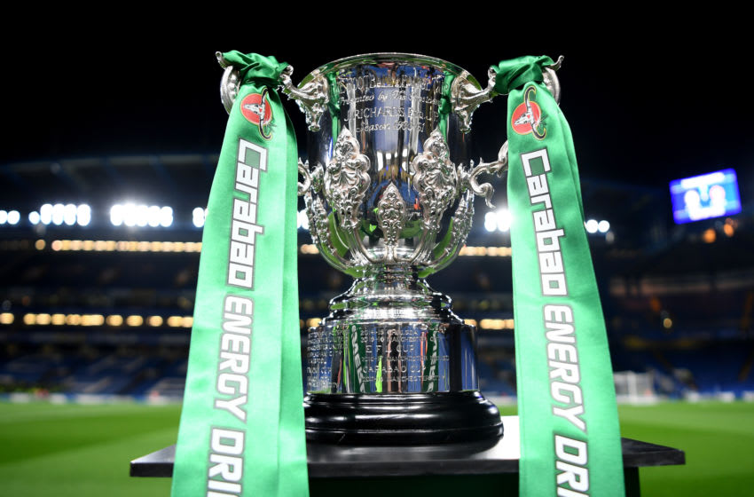 LONDON, ENGLAND - OCTOBER 30: The Carabao Cup is seen pitchside prior to the Carabao Cup Round of 16 match between Chelsea and Manchester United at Stamford Bridge on October 30, 2019 in London, England. (Photo by Michael Regan/Getty Images)