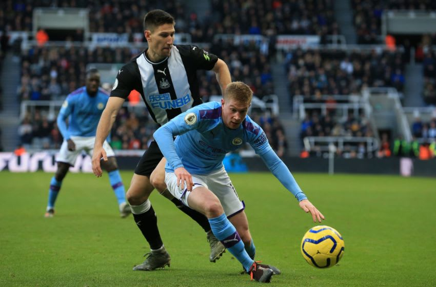 Manchester City's Belgian midfielder Kevin De Bruyne controls the ball during the English Premier League football match between Newcastle United and Manchester City at St James' Park in Newcastle-upon-Tyne, north east England on November 30, 2019 . (Photo by Lindsey Parnaby / AFP) / RESTRICTED TO EDITORIAL USE. No use with unauthorized audio, video, data, fixture lists, club/league logos or 'live' services. Online in-match use limited to 120 images. An additional 40 images may be used in extra time. No video emulation. Social media in-match use limited to 120 images. An additional 40 images may be used in extra time. No use in betting publications, games or single club/league/player publications. / (Photo by LINDSEY PARNABY/AFP via Getty Images)