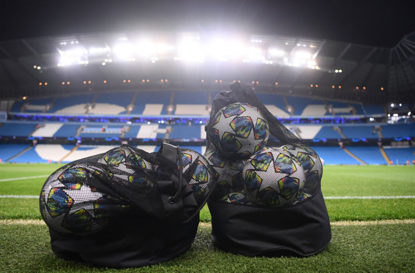 MANCHESTER, ENGLAND - NOVEMBER 26: Match balls are seen prior to the UEFA Champions League group C match between Manchester City and Shakhtar Donetsk at Etihad Stadium on November 26, 2019 in Manchester, United Kingdom. (Photo by Laurence Griffiths/Getty Images)