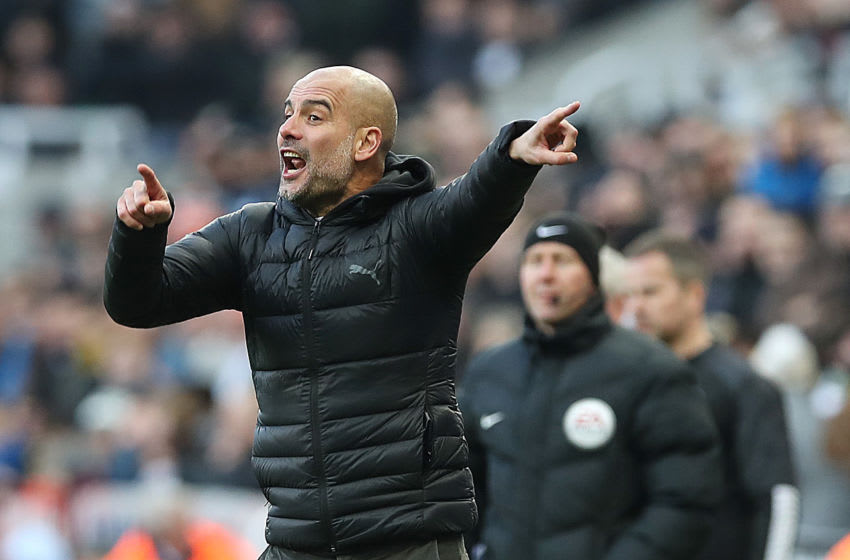 NEWCASTLE UPON TYNE, ENGLAND - NOVEMBER 30: Manchester City manager Pep Guardiola gestures during the Premier League match between Newcastle United and Manchester City at St. James Park on November 30, 2019 in Newcastle upon Tyne, United Kingdom. (Photo by Ian MacNicol/Getty Images)