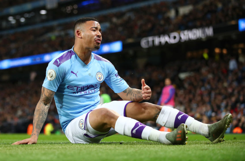MANCHESTER, ENGLAND - DECEMBER 21: Gabriel Jesus of Manchester City reacts during the Premier League match between Manchester City and Leicester City at Etihad Stadium on December 21, 2019 in Manchester, United Kingdom. (Photo by Clive Brunskill/Getty Images)