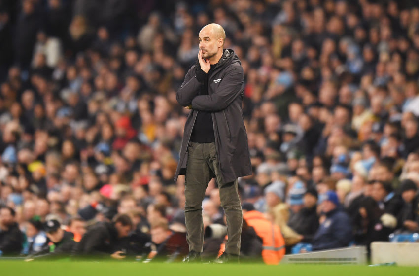MANCHESTER, ENGLAND - DECEMBER 29: Pep Guardiola, Manager of Manchester City looks on during the Premier League match between Manchester City and Sheffield United at Etihad Stadium on December 29, 2019 in Manchester, United Kingdom. (Photo by Michael Regan/Getty Images)