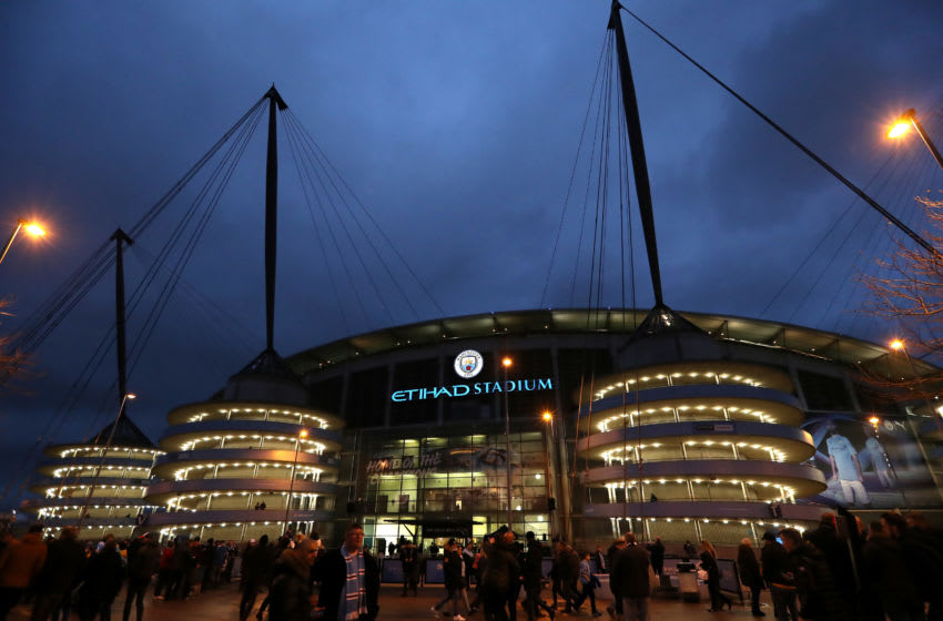 MANCHESTER, ENGLAND - JANUARY 04: General view outside the stadium prior to the FA Cup Third Round match between Manchester City and Port Vale at Etihad Stadium on January 04, 2020 in Manchester, England. (Photo by Alex Livesey/Getty Images)