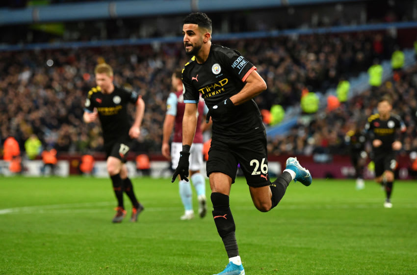 BIRMINGHAM, ENGLAND - JANUARY 12: Riyad Mahrez of Manchester City celebrates after scoring his sides first goal during the Premier League match between Aston Villa and Manchester City at Villa Park on January 12, 2020 in Birmingham, United Kingdom. (Photo by Justin Setterfield/Getty Images)