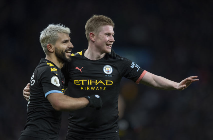BIRMINGHAM, ENGLAND - JANUARY 12: Sergio Aguero of Manchester City celebrates scoring his second goal of a hat trick with team mate Kevin De Bruyne during the Premier League match between Aston Villa and Manchester City at Villa Park on January 12, 2020 in Birmingham, United Kingdom. (Photo by Visionhaus)