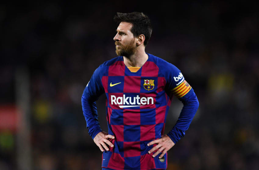 BARCELONA, SPAIN - FEBRUARY 02: Lionel Messi of FC Barcelona looks on during the Liga match between FC Barcelona and Levante UD at Camp Nou on February 02, 2020 in Barcelona, Spain. (Photo by David Ramos/Getty Images)