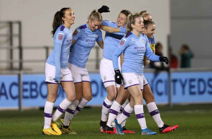MANCHESTER, ENGLAND - FEBRUARY 12: Gemma Bonner of Manchester City celebrates with teammates during the Barclays FA Women's Super League match between Manchester City and Bristol City at The Academy Stadium on February 12, 2020 in Manchester, United Kingdom. (Photo by Charlotte Tattersall/Getty Images)