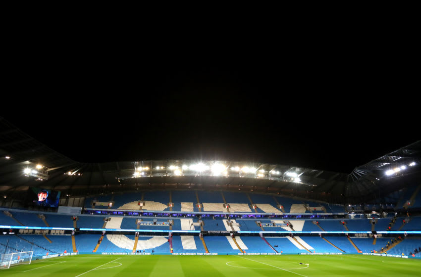 MANCHESTER, ENGLAND - FEBRUARY 19: General view inside the stadium prior to the Premier League match between Manchester City and West Ham United at Etihad Stadium on February 19, 2020 in Manchester, United Kingdom. (Photo by Alex Livesey/Getty Images)