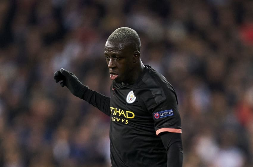 MADRID, SPAIN - FEBRUARY 26: Benjamin Mendy of Manchester City runs with the ball during the UEFA Champions League round of 16 first leg match between Real Madrid and Manchester City at Bernabeu on February 26, 2020 in Madrid, Spain. (Photo by Diego Souto/Quality Sport Images/Getty Images)