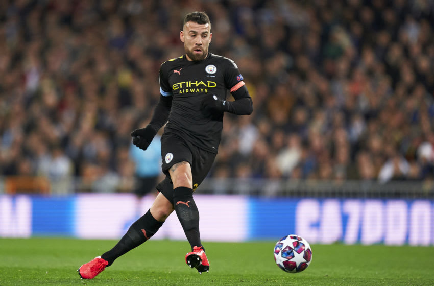 MADRID, SPAIN - FEBRUARY 26: Nicolas Otamendi of Manchester City in action during the UEFA Champions League round of 16 first leg match between Real Madrid and Manchester City at Bernabeu on February 26, 2020 in Madrid, Spain. (Photo by Mateo Villalba/Quality Sport Images/Getty Images)