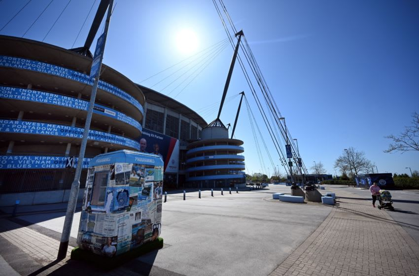 The Etihad Stadium complex, home to English Premier League football team Manchester City, is pictured in Mancheser, northen England on April 21, 2020, as life in Britain continues during the nationwide lockdown to combat the novel coronavirus pandemic. - Due to the ongoing COVID-19 pandemic, Premier League football matches have been suspended indefinitely with no return expected before mid-June,at the earliest. (Photo by Paul ELLIS / AFP) (Photo by PAUL ELLIS/AFP via Getty Images)