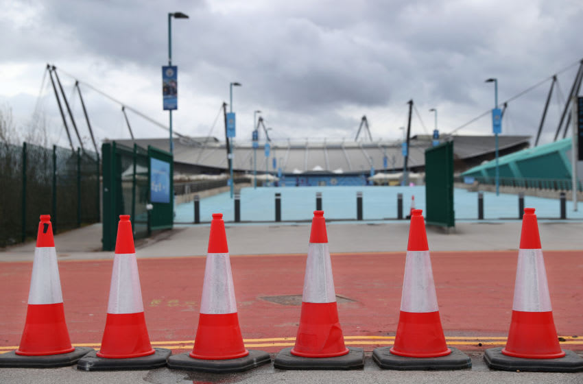 MANCHESTER, ENGLAND - MARCH 14: A general view outside the Etihad Stadium, home of Manchester City F.C, is seen as the scheduled match to be played today between Manchester City and Burnley was postponed due to Covid-19 on March 14, 2020 in Manchester, England. (Photo by Alex Livesey/Getty Images)
