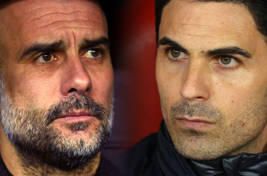 FILE PHOTO (EDITORS NOTE: COMPOSITE OF IMAGES - Image numbers 1208871408, 1207576912 - GRADIENT ADDED) In this composite image a comparison has been made between Pep Guardiola, Manager of Manchester City (L) and Mikel Arteta, Manager of Arsenal. Manchester City and Arsenal meet in a Premier League fixture on June 17,2020 at the Etihad Stadium in Manchester,England. ***LEFT IMAGE*** MADRID, SPAIN - FEBRUARY 26: Pep Guardiola, Manager of Manchester City looks on prior to the UEFA Champions League round of 16 first leg match between Real Madrid and Manchester City at Bernabeu on February 26, 2020 in Madrid, Spain. (Photo by David Ramos/Getty Images) ***RIGHT IMAGE*** PIRAEUS, GREECE - FEBRUARY 20: Mikel Arteta, Manager of Arsenal looks on prior to the UEFA Europa League round of 32 first leg match between Olympiacos FC and Arsenal FC at Karaiskakis Stadium on February 20, 2020 in Piraeus, Greece. (Photo by Richard Heathcote/Getty Images)