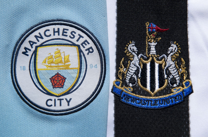 MANCHESTER, ENGLAND - APRIL 24: The Manchester City and Newcastle United club crests on first team home shirts on April 24, 2020 in Manchester, England (Photo by Visionhaus)