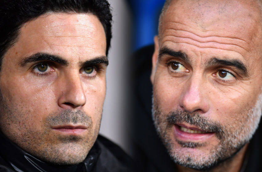FILE PHOTO (EDITORS NOTE: COMPOSITE OF IMAGES - Image numbers 1202351530, 1182084551 - GRADIENT ADDED) In this composite image a comparison has been made between Mikel Arteta, Manager of Arsenal (L) and Pep Guardiola, Manager of Manchester City. Arsenal and Manchester City meet in a FA Cup Semi Final at Wembley Stadium on July 18,2020 in London,England. ***LEFT IMAGE*** BOURNEMOUTH, ENGLAND - JANUARY 27: Mikel Arteta, Manager of Arsenal looks on prior to the FA Cup Fourth Round match between AFC Bournemouth and Arsenal at Vitality Stadium on January 27, 2020 in Bournemouth, England. (Photo by Justin Setterfield/Getty Images) ***RIGHT IMAGE*** LONDON, ENGLAND - OCTOBER 19: Pep Guardiola, Manager of Manchester City looks on ahead of the Premier League match between Crystal Palace and Manchester City at Selhurst Park on October 19, 2019 in London, United Kingdom. (Photo by Alex Broadway/Getty Images)