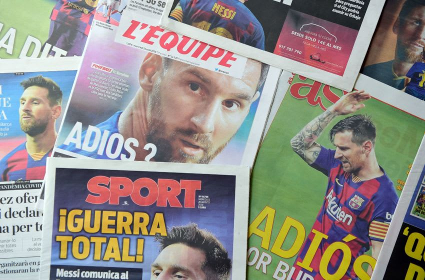 The covers of newspapers inform on Argentinian forward Lionel Messi's wish to leave FC Barcelona, on August 26, 2020, in Barcelona. - Six-time Ballon d'Or winner Lionel Messi told Barcelona he wants to leave -- on a free transfer -- in a