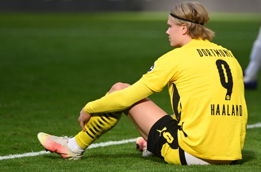 Dortmund's Norwegian forward Erling Braut Haaland reacts during the German first division Bundesliga football match between Borussia Dortmund and Eintracht Frankfurt in Dortmund, western Germany, on April 3, 2021. - DFL REGULATIONS PROHIBIT ANY USE OF PHOTOGRAPHS AS IMAGE SEQUENCES AND/OR QUASI-VIDEO (Photo by Ina Fassbender / POOL / AFP) / DFL REGULATIONS PROHIBIT ANY USE OF PHOTOGRAPHS AS IMAGE SEQUENCES AND/OR QUASI-VIDEO (Photo by INA FASSBENDER/POOL/AFP via Getty Images)