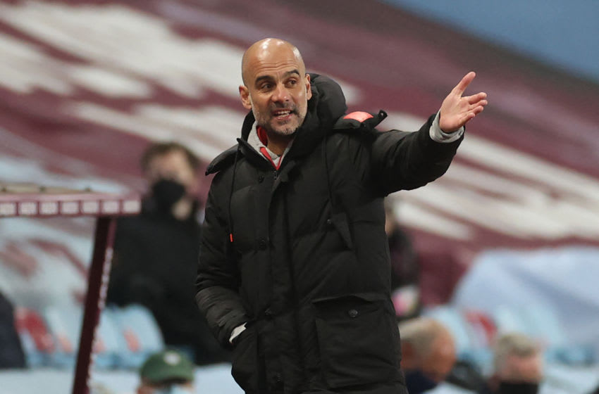 Manchester City's Spanish manager Pep Guardiola gestures from the side-lines during the English Premier League football match between Aston Villa and Manchester City at Villa Park in Birmingham, central England on April 21, 2021. - RESTRICTED TO EDITORIAL USE. No use with unauthorized audio, video, data, fixture lists, club/league logos or 'live' services. Online in-match use limited to 120 images. An additional 40 images may be used in extra time. No video emulation. Social media in-match use limited to 120 images. An additional 40 images may be used in extra time. No use in betting publications, games or single club/league/player publications. (Photo by CARL RECINE / POOL / AFP) / RESTRICTED TO EDITORIAL USE. No use with unauthorized audio, video, data, fixture lists, club/league logos or 'live' services. Online in-match use limited to 120 images. An additional 40 images may be used in extra time. No video emulation. Social media in-match use limited to 120 images. An additional 40 images may be used in extra time. No use in betting publications, games or single club/league/player publications. / RESTRICTED TO EDITORIAL USE. No use with unauthorized audio, video, data, fixture lists, club/league logos or 'live' services. Online in-match use limited to 120 images. An additional 40 images may be used in extra time. No video emulation. Social media in-match use limited to 120 images. An additional 40 images may be used in extra time. No use in betting publications, games or single club/league/player publications. (Photo by CARL RECINE/POOL/AFP via Getty Images)