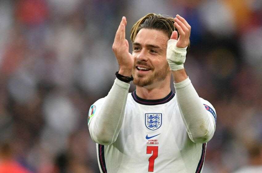England's midfielder Jack Grealish greets the fans after their win in the UEFA EURO 2020 round of 16 football match between England and Germany at Wembley Stadium in London on June 29, 2021. (Photo by JUSTIN TALLIS / POOL / AFP) (Photo by JUSTIN TALLIS/POOL/AFP via Getty Images)