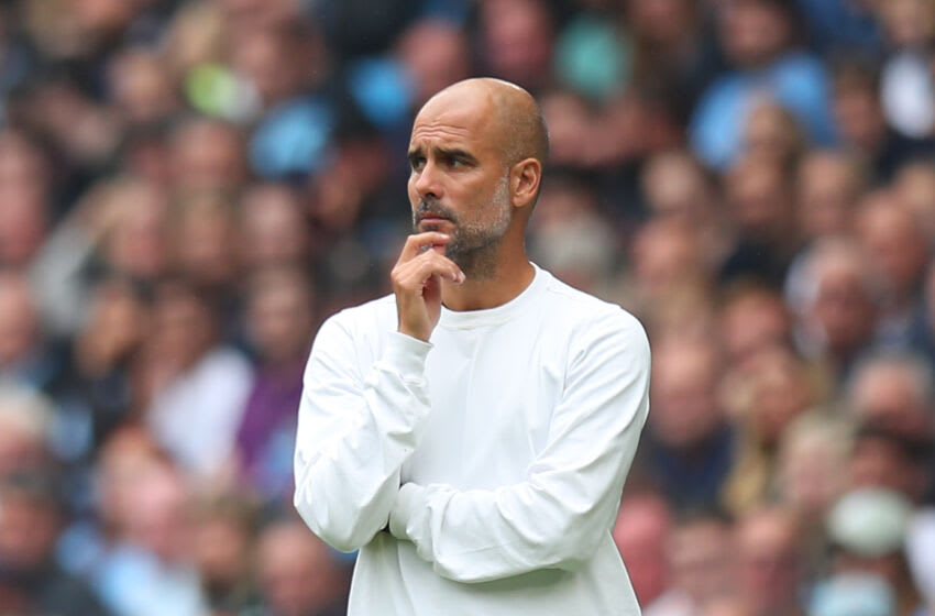 MANCHESTER, ENGLAND - AUGUST 21: Pep Guardiola the head coach / manager of Manchester City during the Premier League match between Manchester City and Norwich City at Etihad Stadium on August 21, 2021 in Manchester, England. (Photo by Robbie Jay Barratt - AMA/Getty Images)