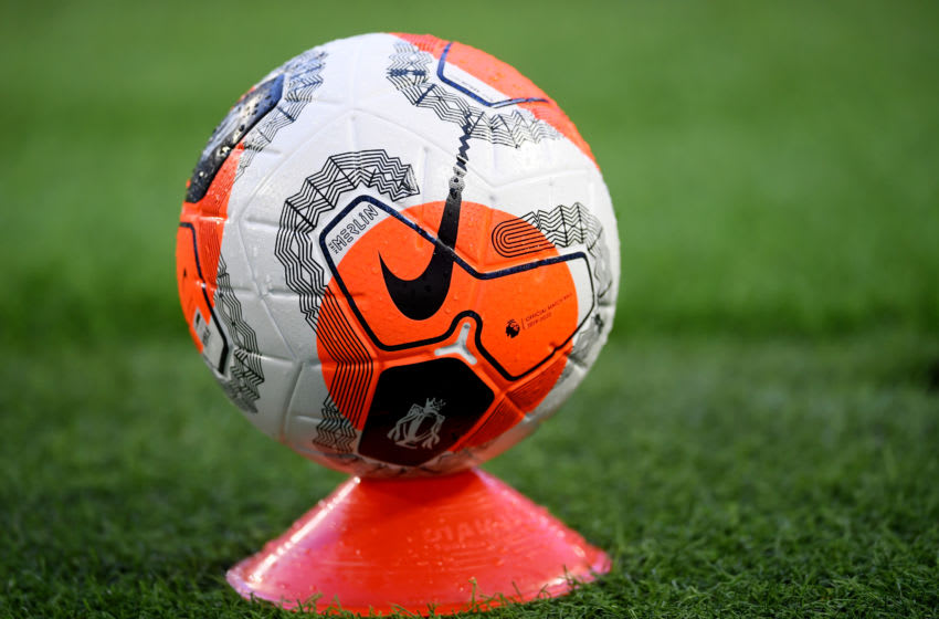 MANCHESTER, ENGLAND - JUNE 17: A disinfected match ball is shown during the Premier League match between Manchester City and Arsenal FC at Etihad Stadium on June 17, 2020 in Manchester, United Kingdom. Football Stadiums around Europe remain empty due to the Coronavirus Pandemic as Government social distancing laws prohibit fans inside venues resulting in all fixtures being played behind closed doors. (Photo by Laurence Griffiths/Getty Images)