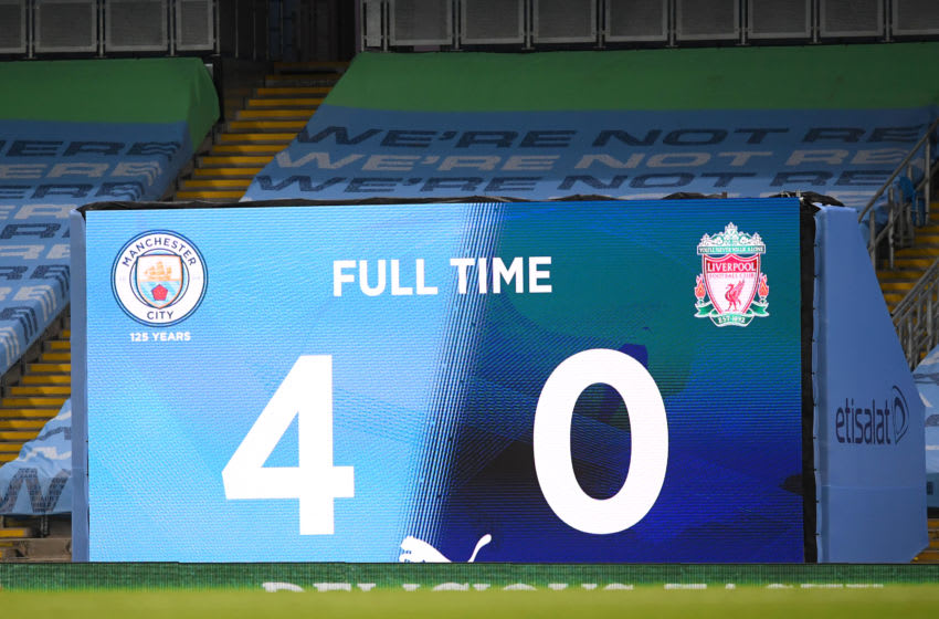 MANCHESTER, ENGLAND - JULY 02: The LED scoreboard is seen after the Premier League match between Manchester City and Liverpool FC at Etihad Stadium on July 02, 2020 in Manchester, England. Football Stadiums around Europe remain empty due to the Coronavirus Pandemic as Government social distancing laws prohibit fans inside venues resulting in all fixtures being played behind closed doors. (Photo by Laurence Griffiths/Getty Images)