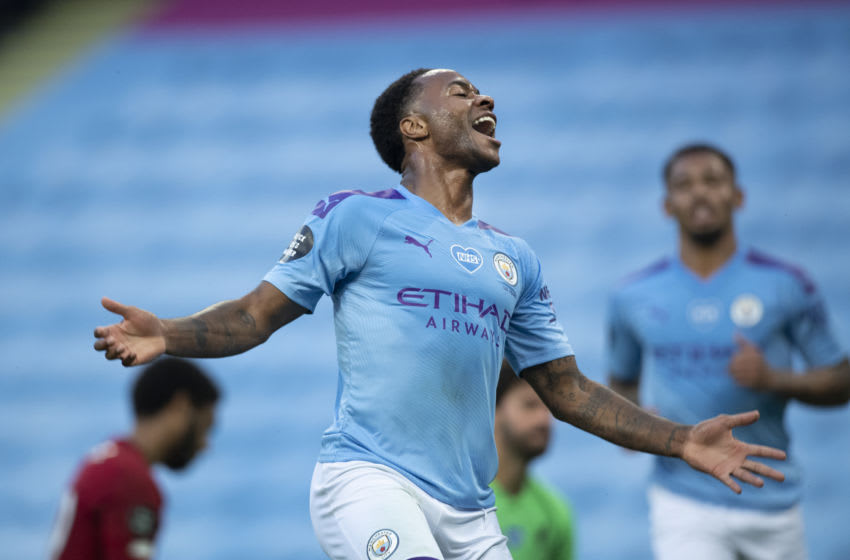 MANCHESTER, ENGLAND - JULY 02: Raheem Sterling of Manchester City celebrates scoring the second goal during the Premier League match between Manchester City and Liverpool FC at Etihad Stadium on July 2, 2020 in Manchester, United Kingdom. (Photo by Visionhaus)