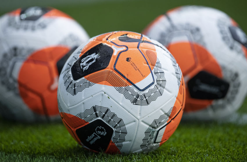 MANCHESTER, ENGLAND - JULY 02: The official Nike Premier League football before the Premier League match between Manchester City and Liverpool FC at Etihad Stadium on July 2, 2020 in Manchester, United Kingdom. (Photo by Visionhaus)