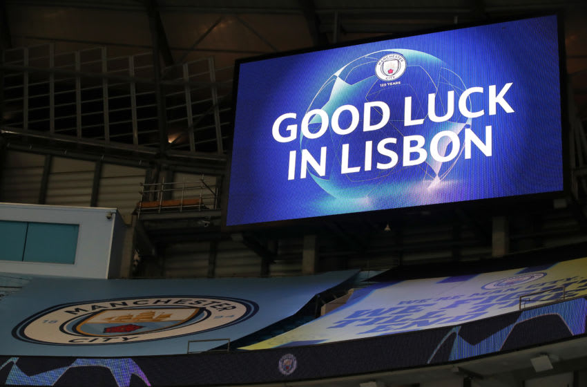 MANCHESTER, ENGLAND - AUGUST 07: The LED screen inside the stadium displays a good luck message for Manchester City going into the next round of the competition following the UEFA Champions League round of 16 second leg match between Manchester City and Real Madrid at Etihad Stadium on August 07, 2020 in Manchester, England. (Photo by Nick Potts/Pool via Getty Images)