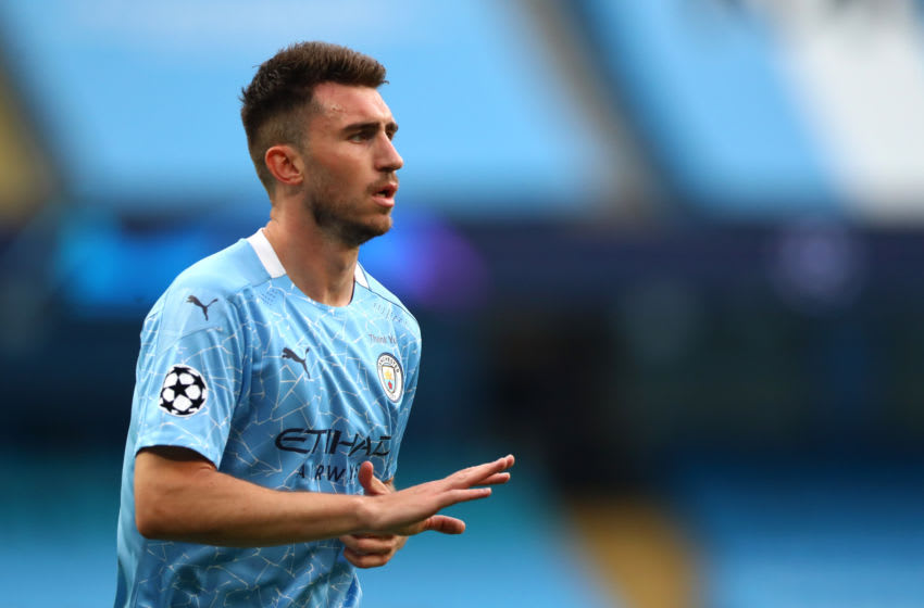 MANCHESTER, ENGLAND - AUGUST 07: Aymeric Laporte of Manchester City during the UEFA Champions League round of 16 second leg match between Manchester City and Real Madrid at Etihad Stadium on August 07, 2020 in Manchester, England. (Photo by Chloe Knott - Danehouse/Getty Images)