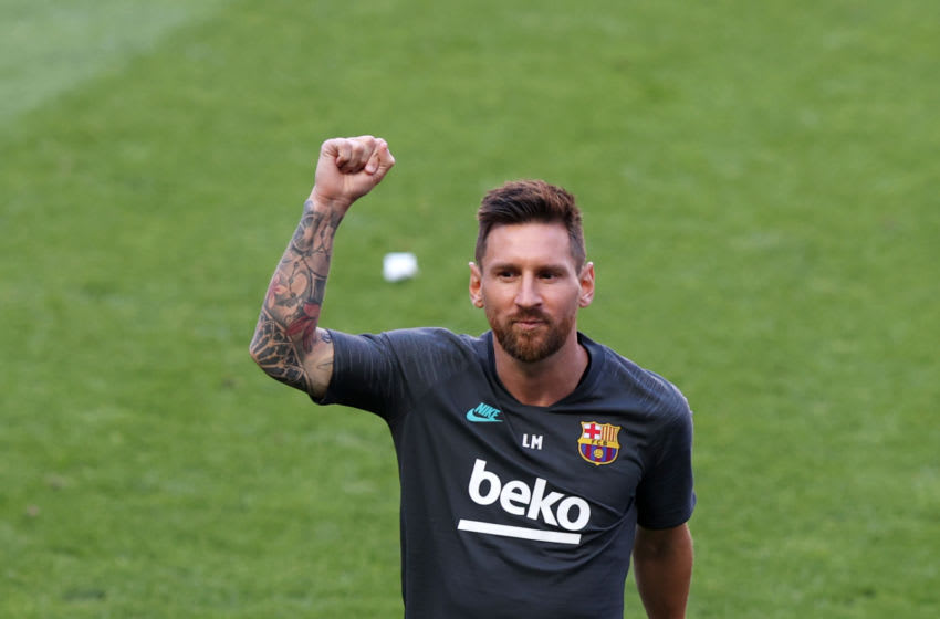 LISBON, PORTUGAL - AUGUST 13: Lionel Messi of FC Barcelona reacts during a training session ahead of their UEFA Champions League quarter-final match against Bayern Munich at Estadio do Sport Lisboa e Benfica on August 13, 2020 in Lisbon, Portugal. (Photo by Rafael Marchante/Pool via Getty Images)