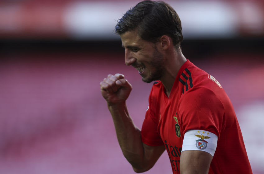 LISBON, PORTUGAL - SEPTEMBER 26: Ruben Dias of SL Benfica celebrates scoring his team's first goal during the Liga NOS round 2 match between SL Benfica and Moreirense FC at Estadio da Luz on September 26, 2020 in Lisbon, Portugal. (Photo by Carlos Rodrigues/Getty Images)