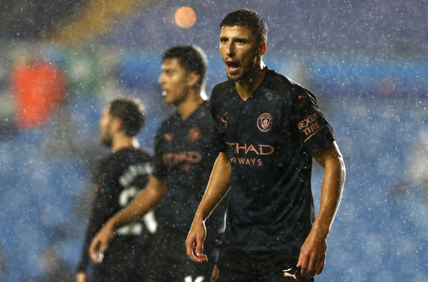 LEEDS, ENGLAND - OCTOBER 03: Ruben Dias of Manchester City gives his team instructions during the Premier League match between Leeds United and Manchester City at Elland Road on October 03, 2020 in Leeds, England. Sporting stadiums around the UK remain under strict restrictions due to the Coronavirus Pandemic as Government social distancing laws prohibit fans inside venues resulting in games being played behind closed doors. (Photo by Jason Cairnduff - Pool/Getty Images)