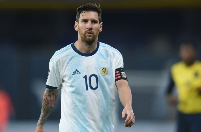 BUENOS AIRES, ARGENTINA - OCTOBER 08: Lionel Messi of Argentina looks on during a match between Argentina and Ecuador as part of South American Qualifiers for Qatar 2022 at Estadio Alberto J. Armando on October 08, 2020 in Buenos Aires, Argentina. (Photo by Marcelo Endelli/Getty Images)