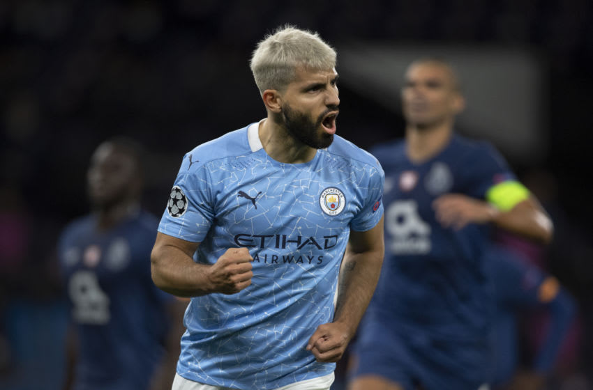 MANCHESTER, ENGLAND - OCTOBER 21: Sergio Aguero of Manchester City celebrates scoring the first goal from a penalty during the UEFA Champions League Group C stage match between Manchester City and FC Porto at Etihad Stadium on October 21, 2020 in Manchester, United Kingdom. Sporting stadiums around the UK remain under strict restrictions due to the Coronavirus Pandemic as Government social distancing laws prohibit fans inside venues resulting in games being played behind closed doors. (Photo by Visionhaus)