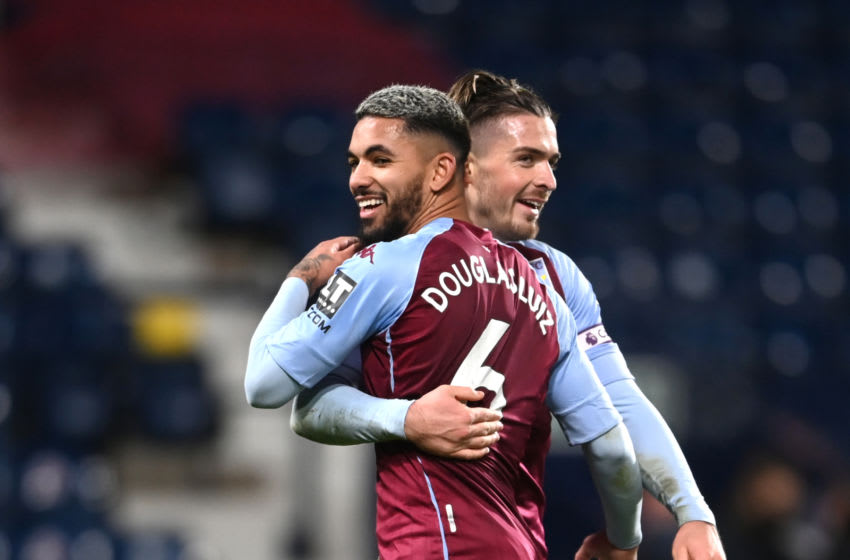 WEST BROMWICH, ENGLAND - DECEMBER 20: Jack Grealish and Douglas Luiz of Aston Villa celebrate after the Premier League match between West Bromwich Albion and Aston Villa at The Hawthorns on December 20, 2020 in West Bromwich, England. The match will be played without fans, behind closed doors as a Covid-19 precaution. (Photo by Laurence Griffiths/Getty Images)