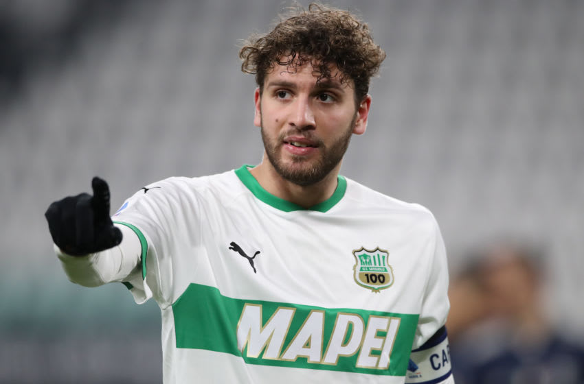 TURIN, ITALY - JANUARY 10: US Sassuolo captain Manuel Locatelli reacts during the Serie A match between Juventus and US Sassuolo at Allianz Stadium on January 10, 2021 in Turin, Italy. (Photo by Jonathan Moscrop/Getty Images)