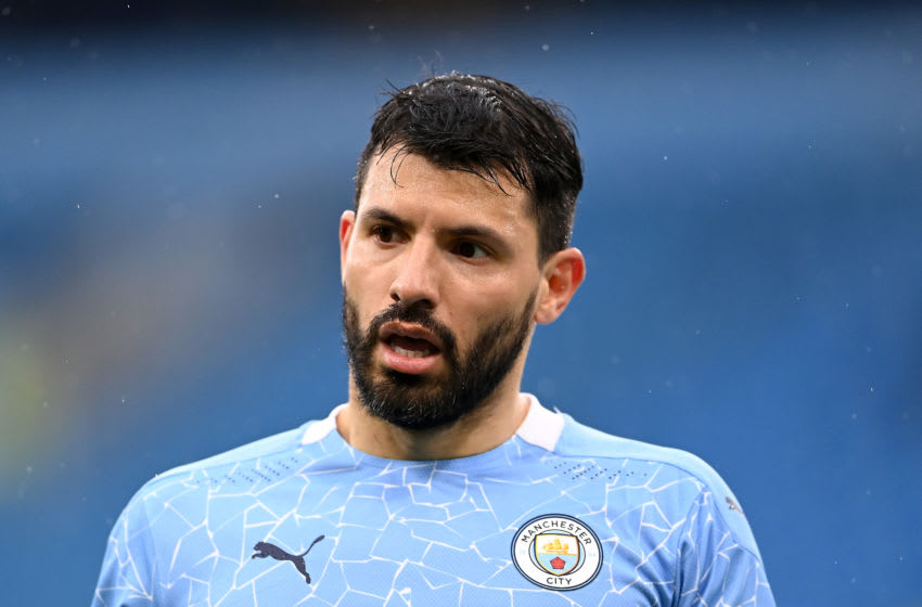 MANCHESTER, ENGLAND - MAY 08: Sergio Aguero of Manchester City looks on during the Premier League match between Manchester City and Chelsea at Etihad Stadium on May 08, 2021 in Manchester, England. Sporting stadiums around the UK remain under strict restrictions due to the Coronavirus Pandemic as Government social distancing laws prohibit fans inside venues resulting in games being played behind closed doors. (Photo by Laurence Griffiths/Getty Images)