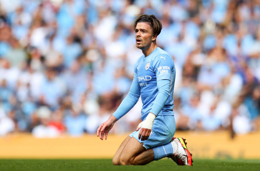 MANCHESTER, ENGLAND - AUGUST 28: Jack Grealish of Manchester City reacts during the Premier League match between Manchester City and Arsenal at Etihad Stadium on August 28, 2021 in Manchester, England. (Photo by Catherine Ivill/Getty Images)