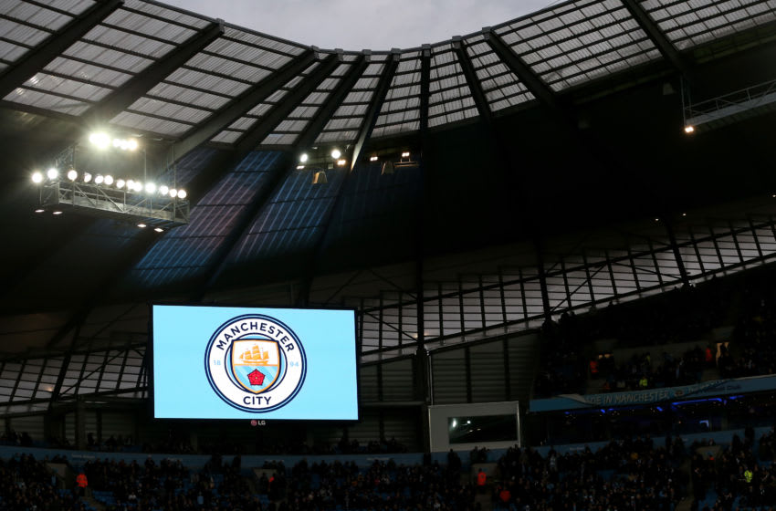 MANCHESTER, ENGLAND - DECEMBER 26: A new club badge design is displayed during the Barclays Premier League match between Manchester City and Sunderland at the Etihad Stadium on December 26, 2015 in Manchester, England. (Photo by Jan Kruger/Getty Images)