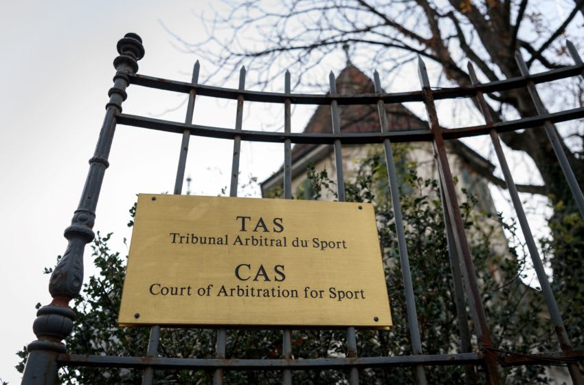 The entrance of the Court of Arbitration for Sport (CAS) is seen on November 15, 2017 in Lausanne. / AFP PHOTO / Fabrice COFFRINI (Photo credit should read FABRICE COFFRINI/AFP via Getty Images)
