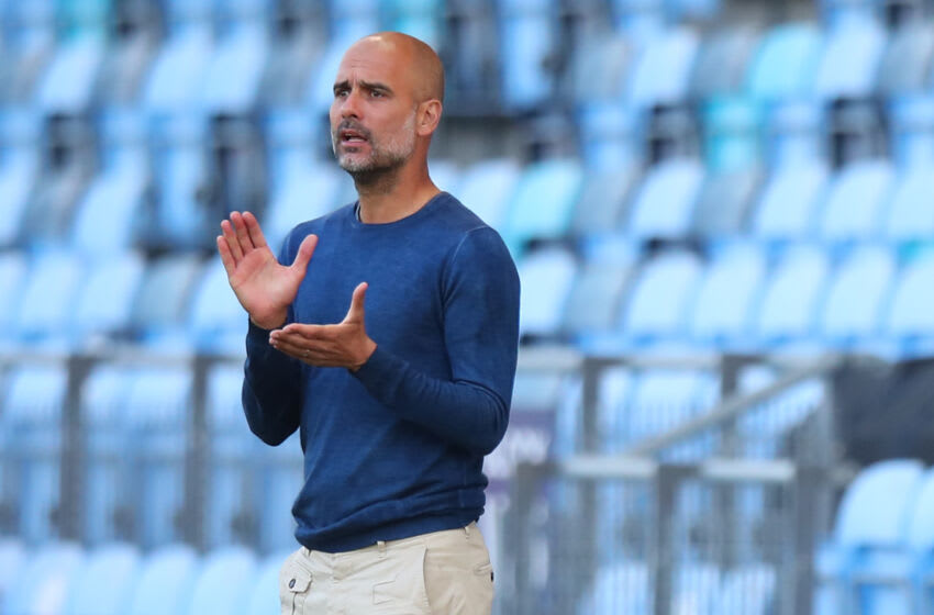 MANCHESTER, ENGLAND - AUGUST 03: Pep Guardiola of Manchester City during the Pre Season Friendly fixture between Manchester City and Blackpool at Manchester City Football Academy on August 3, 2021 in Manchester, England. (Photo by Robbie Jay Barratt - AMA/Getty Images)
