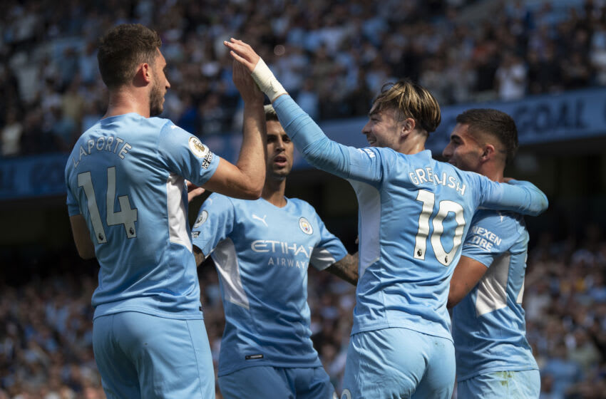 MANCHESTER, ENGLAND - AUGUST 28: Ferran Torres of Manchester City celebrates scoring the second goal during the Premier League match between Manchester City and Arsenal at Etihad Stadium on August 28, 2021 in Manchester, England. (Photo by Visionhaus/Getty Images)