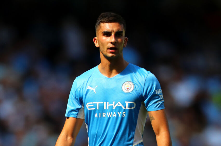 MANCHESTER, ENGLAND - AUGUST 28: Ferran Torres of Manchester City during the Premier League match between Manchester City and Arsenal at Etihad Stadium on August 28, 2021 in Manchester, England. (Photo by Chloe Knott - Danehouse/Getty Images)