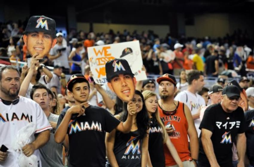 Jul 2, 2015; Miami, FL, USA; Miami Marlins fans cheer on after the Marlins defeated the San Francisco Giants 5-4 at Marlins Park. Mandatory Credit: Steve Mitchell-USA TODAY Sports