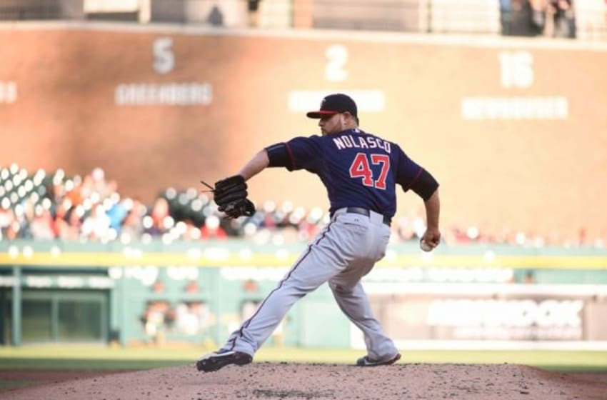 May 13, 2015; Detroit, MI, USA; Minnesota Twins starting pitcher Ricky Nolasco (47) pitches during the game against the Detroit Tigers at Comerica Park. Mandatory Credit: Tim Fuller-USA TODAY Sports