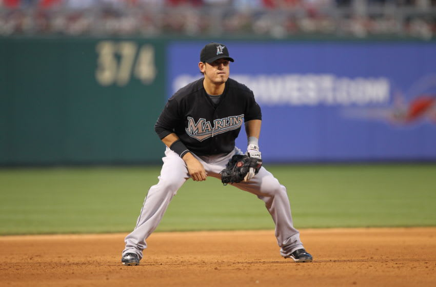 PHILADELPHIA - JUNE 10: Third baseman Jorge Cantu #3 of the Florida Marlins plays the field during a game against the Philadelphia Phillies at Citizens Bank Park on June 10, 2010 in Philadelphia, Pennsylvania. (Photo by Hunter Martin/Getty Images)