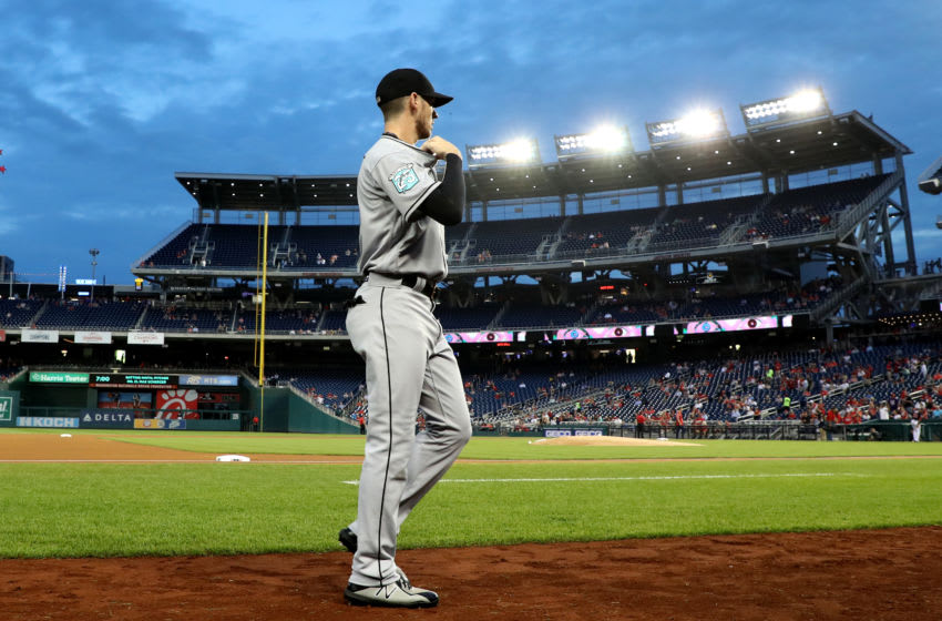 WASHINGTON, DC - SEPTEMBER 25: JT Riddle #10 of the Miami Marlins walks to the dugout before the start of the Marlins game against the Washington Nationals at Nationals Park on September 25, 2018 in Washington, DC. (Photo by Rob Carr/Getty Images)